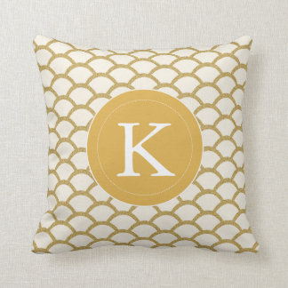 Modern Monogram Faux Gold Glitter Scallop Pillow