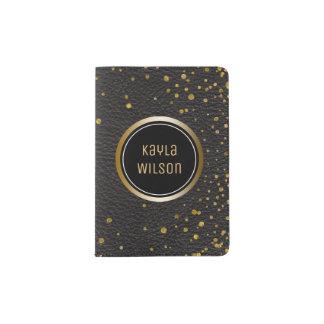 Modern Monogram | Gold Confetti Dots Black Leather Passport Holder