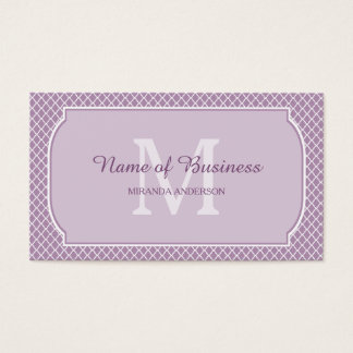 Modern Monogram Light Purple Quatrefoil With Name Business Card