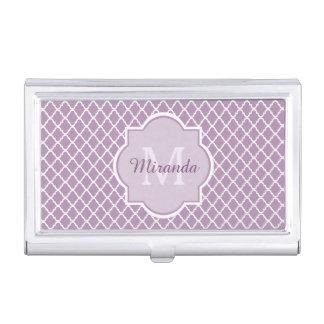 Modern Monogram Light Purple Quatrefoil With Name Business Card Holder