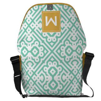 Modern Monogram , Mint Green and Gold Commuter Bags