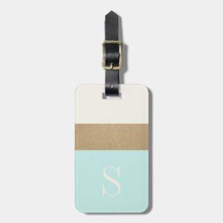Modern Monogram Mint Green Gold Stripe Luggage Tag
