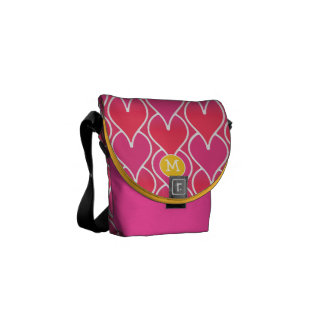 Modern Monogram Pink and Red Geometric Pattern Commuter Bags