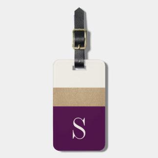 Modern Monogram Purple Gold Striped | Luggage Tag