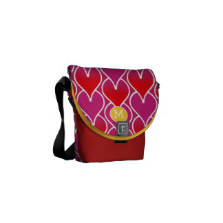Modern Monogram Purple Red Geometric Pattern Courier Bags