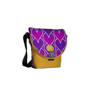 Modern Monogram Purple Yellow Geometric Pattern Courier Bags