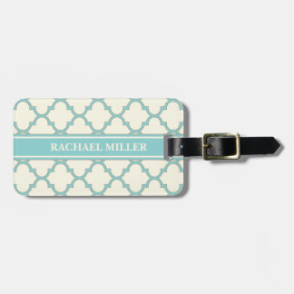 Modern Monogram Quatrefoil Pattern Ivory Turquoise Luggage Tag