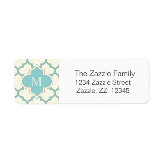 Modern Monogram Quatrefoil Pattern Ivory Turquoise Return Address Label