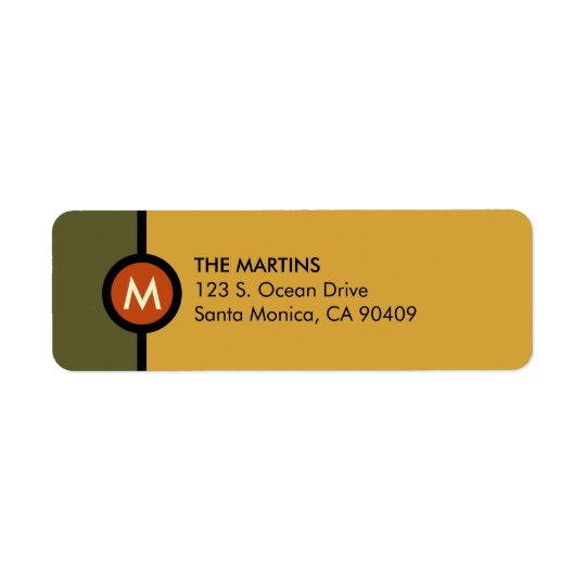 Modern Monogram Return Address Label - Green/Gold