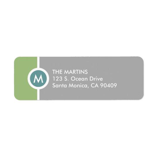 Modern Monogram Return Address Label - Green/Grey