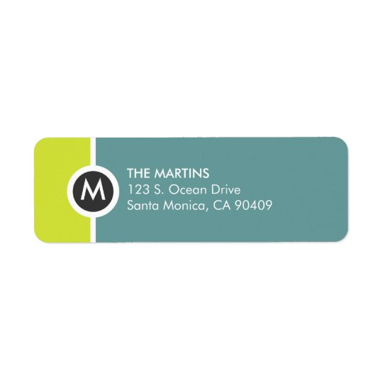 Modern Monogram Return Address Label - Yellow/Blue