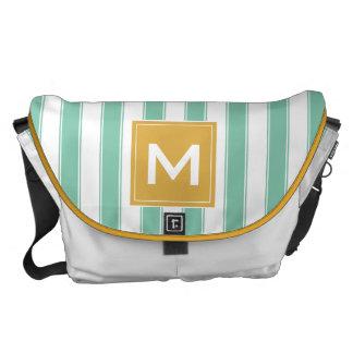 Modern Monogram Stripes Bag, Mint Green and Gold Messenger Bag