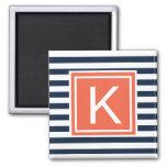 Modern Monogram Stripes Magent Square Magnet