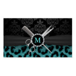 Modern Monogram Teal Leopard Print Hair Stylist Pack Of Standard Business Cards