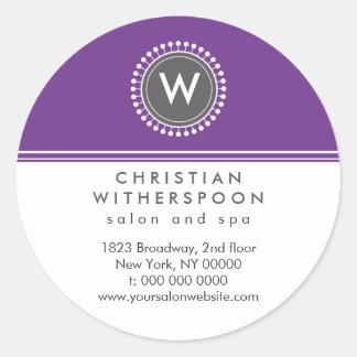 Modern Monogram Violet Aesthetic Classic Round Sticker