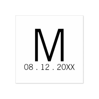 Modern Monogram Wedding Favor Rubber Stamp