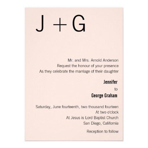 Modern Monogram Wedding Invitation - Pink & Black