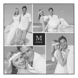 Modern Monogram Wedding Photo Collage Wall Panel