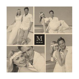 Modern Monogram Wedding Photo Collage Wood Art Wood Prints