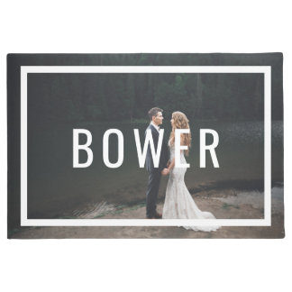 Modern Monogram Wedding Photo Doormat