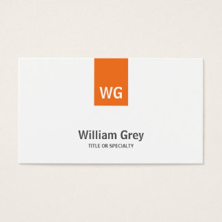 Modern Monogram White Orange Sleek Profile Card