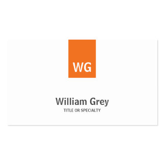 Modern Monogram White Orange Sleek Profile Card Pack Of Standard Business Cards