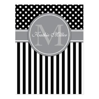 Modern Monogram with stripes polkadot pattern Postcard