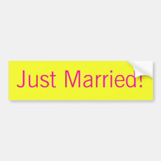 "Modern Monogram - Yellow and Pink ""Just Married"" Car Bumper Sticker"