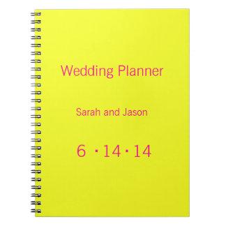 Modern Monogram - Yellow and Pink Spiral Notebook