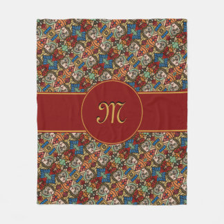 Modern Monogrammed Abstract Faces Fashion Beauty Fleece Blanket