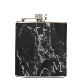 Modern Monogrammed Black And Gray Marble Stone Hip Flask