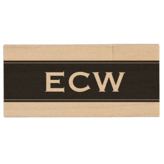* Modern Monogrammed Black Labelled Wood USB Flash Drive
