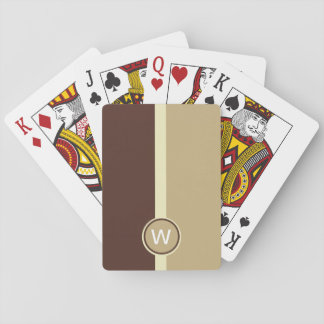 Modern Monogrammed Cream coffee and chocolate stri Playing Cards