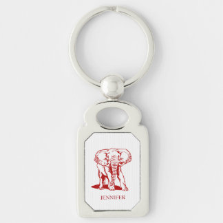 Modern Monogrammed Dark Red Elephant Silver-Colored Rectangle Key Ring