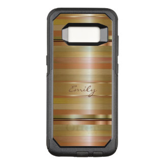 Modern Monogrammed Gold And Copper Stripes OtterBox Commuter Samsung Galaxy S8 Case