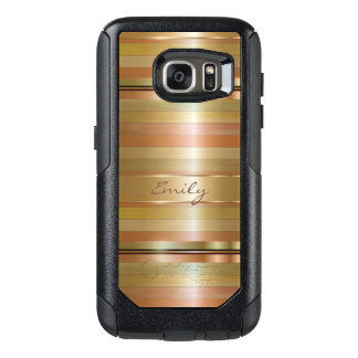 Modern Monogrammed Gold And Copper Stripes OtterBox Samsung Galaxy S7 Case