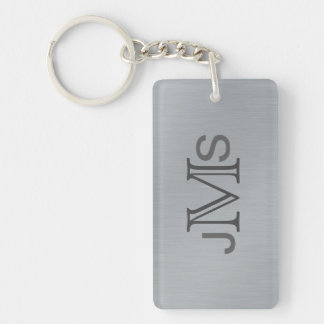 Modern Monogrammed Initials | Brushed Metal Look Key Ring