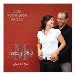 Modern Monograms with Photo Wedding Invitations 13 Cm X 13 Cm Square Invitation Card