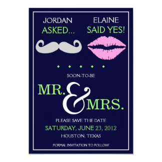 Modern Moustache Lips Mr. & Mrs. Save the Date Card