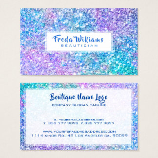 Modern Multi Color Faux Glitter & Sparkles Business Card