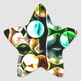 Modern Multicolor Multishape Fractal Star Sticker