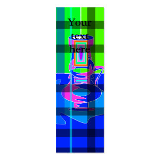 Modern multicolored vases in green blue plaid business cards