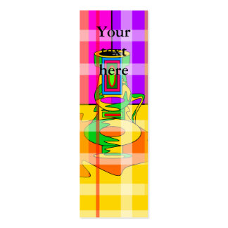Modern multicolored vases in plaid business card template