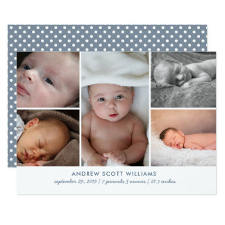 Modern multiple photo baby birth announcement