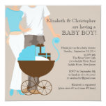 Modern Mum Dad Carriage Couple Baby Shower Personalised Invitation