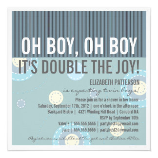 Modern Mum Twin Boy Baby Shower Invitation