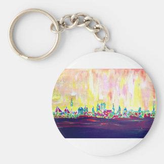 Modern Munich Skyline Silhouette in Neon Basic Round Button Key Ring