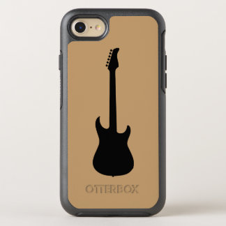 Modern Music Black Electric Guitar on Camel Brown OtterBox Symmetry iPhone 7 Case