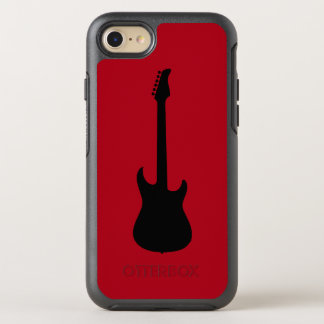 Modern Music Black Electric Guitar on Dark Red OtterBox Symmetry iPhone 7 Case