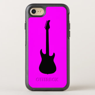 Modern Music Black Electric Guitar on Pink OtterBox Symmetry iPhone 7 Case